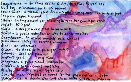 Watercolor of D words by Lynne Sachs