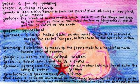 Watercolor of G words by Lynne Sachs